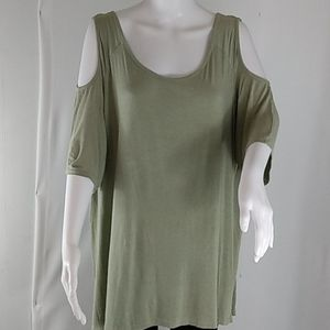 French Laundry Sage Green Cold Shoulder Top